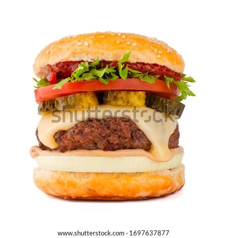 One big tall classic hamburger burger cheeseburger isolated on white background