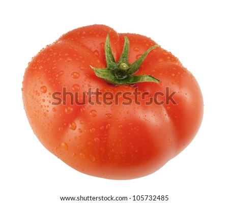 One big tomato with water drops isolated on a white background.