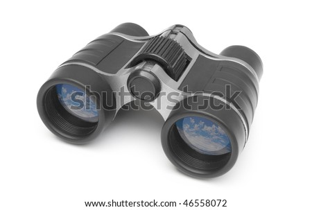 One black binoculars isolated on white background
