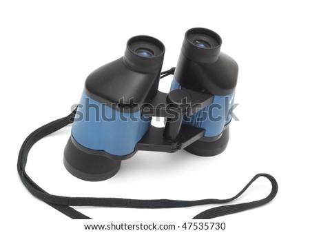 One black binoculars isolated on white background