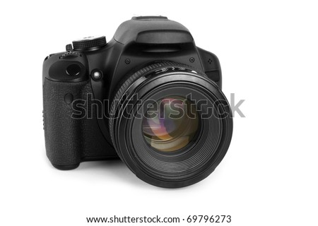 One black camera isolated on white background