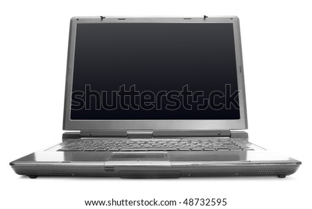 black screen background. stock photo : One lack laptop with the lack screen on white ackground