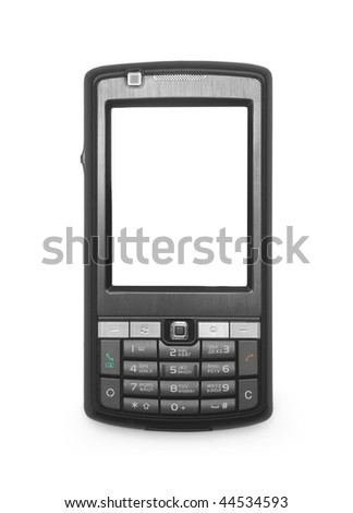 One black mobile phone with the white screen on white background