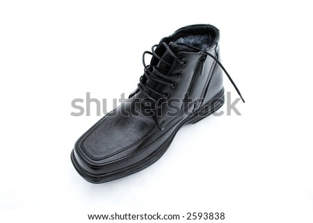One black shoe with shoe-laces and zipper