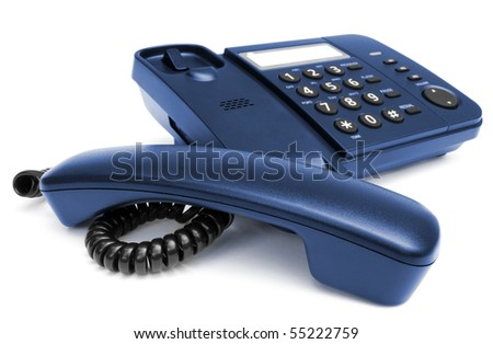 One black telephone isolated on white background - stock photo