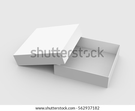 One blank empty open box in 3d illustration isolated on light gray background, Elevated view