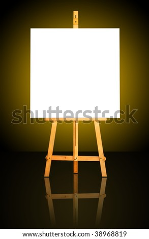 One blank white canvas on easel over a dark gold background