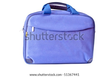 One blue bag with zipper isolated on white
