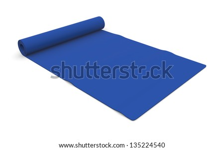 one blue fitness mat on white (3d render)