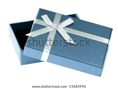 One blue gift box with white ribbon and bow and isolated