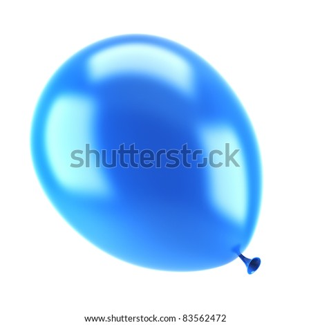 one blue party balloon isolated on white background
