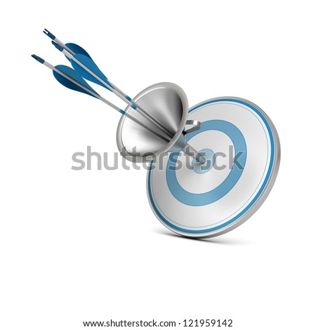 One blue target pierced by three arrows thanks to a funnel, image over white background.
