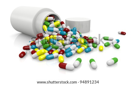one bottle pills with many pills of different colors (3d render)