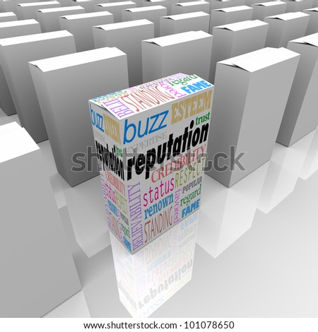 One box represents a unique product with the best reputation in a crowded field, with words like credibility, respect, esteem, standing, status, expertise and more