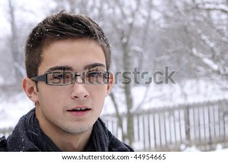 one boy in winter season