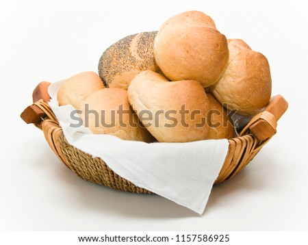 one breadbasket with different rolls