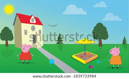 One bright day, Peppa Pig and her best friend Susie Sheep are playing in their backyard. Stok fotoğraf ©