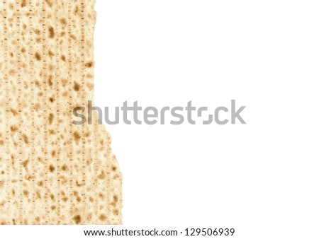 One broken matzo piece for the Passover seder afikoman. Half of a cracked matzo positioned to the left of the photo. Horizontal view with lots of room for text. Isolated on a white background.