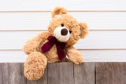 One brown cute teddy bear climbing on the old wooden fence with yellow wood background. Copy space for text.