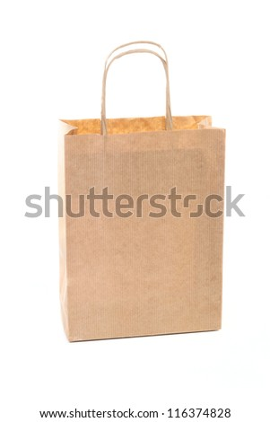 One brown paper shopping bag isolated on white background