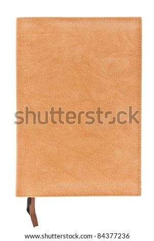 One brown velvet book with bookmark isolated on white background - stock photo