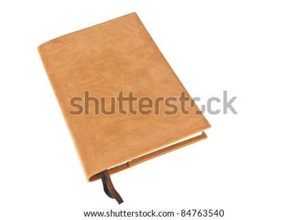 One brown velvet book with bookmark isolated on white background