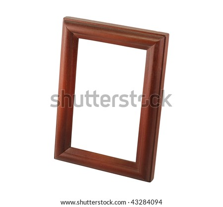 one brown wooden frame on white background