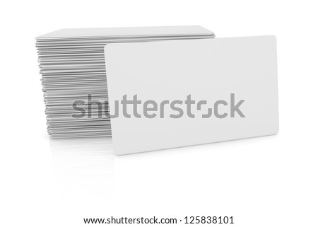 one business card with blank space for custom text or image and  a stack on background (3d render)