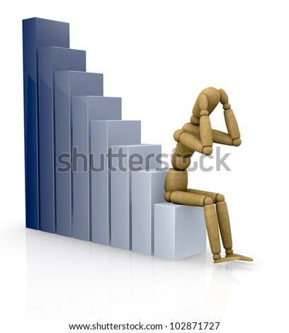 one business graph with a dummy sitting on it (3d render)