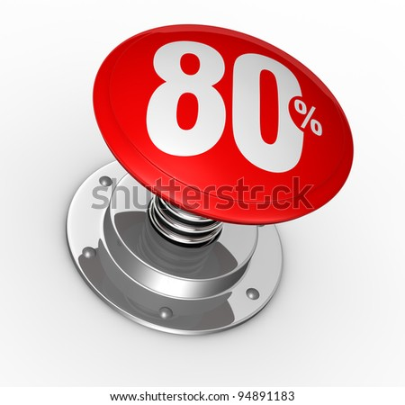 one button with number 80 and percent symbol (3d render)