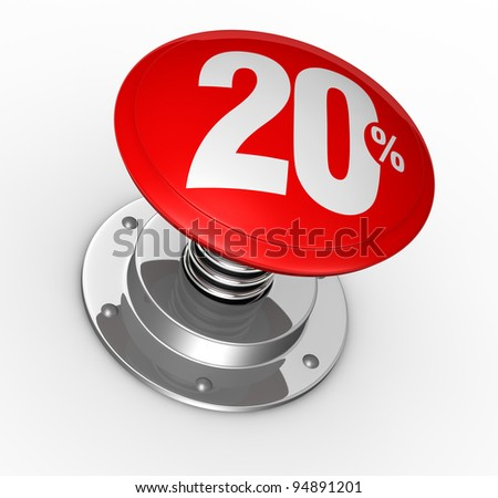 one button with number 20 and percent symbol (3d render)