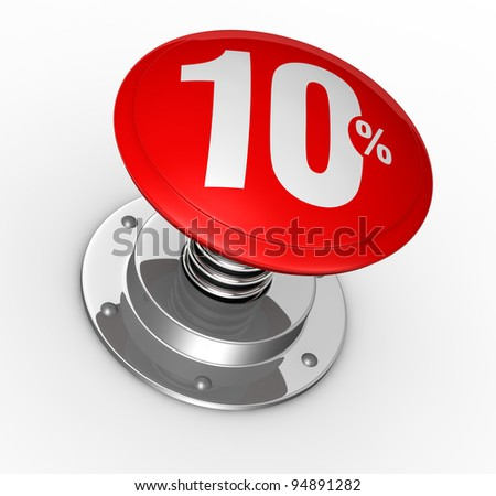 one button with number 10 and percent symbol (3d render)