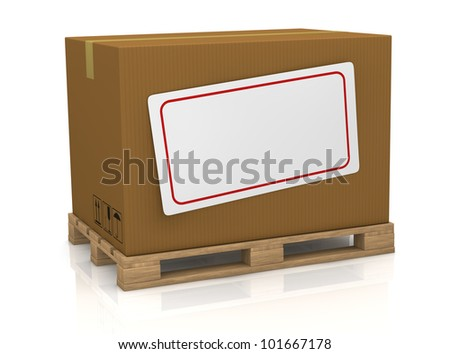 one carton box over a pallet, with a white label for custom text (3d render)