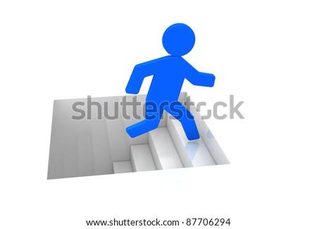 one cartoon man that climbs a stair (3d render)
