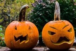 One Carved Halloween Pumpkin Sitting on Bricks in Autumn