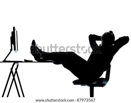 one caucasian business man computer computing relaxing  silhouette Full length in studio isolated on white background