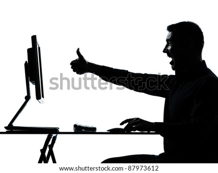 one caucasian business man computer computing silhouette in studio isolated on white background