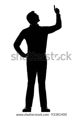 one caucasian business man poiting up happy  silhouette standing Full length in studio isolated on white background