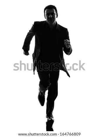 one caucasian business man running in silhouette  on white background #164766809