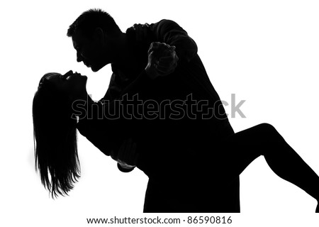One Caucasian Couple Lovers Man And Woman Dancing Tango In ...
