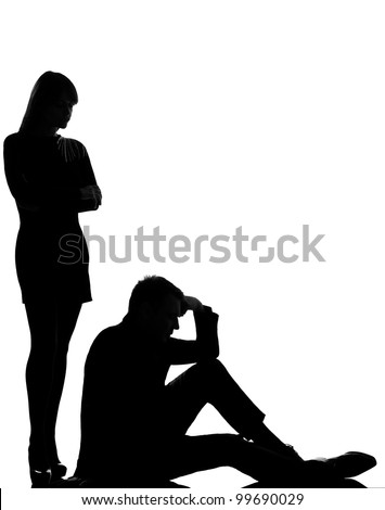 one caucasian couple man and woman dispute conflict full length in studio silhouette isolated on white background