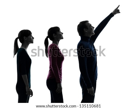 one caucasian family father mother daughter man looking up surprised happy in silhouette studio isolated on white background