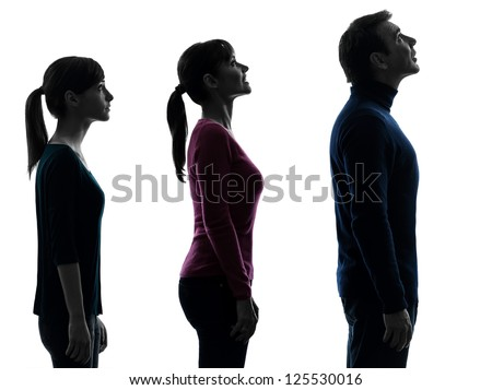 one caucasian family father mother daughter man looking up surprised in silhouette studio isolated on white background