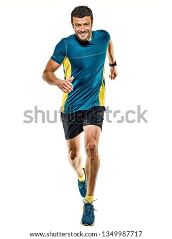 one caucasian handsome mature man running runner jogging jogger isolated on white background #1349987717