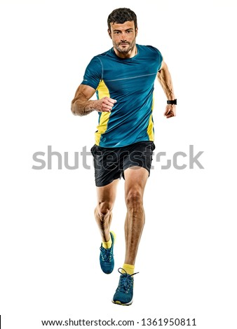one caucasian handsome mature man running runner jogging jogger isolated on white background #1361950811