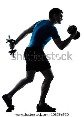 one caucasian man exercising weight training workout fitness in silhouette studio  isolated on white background
