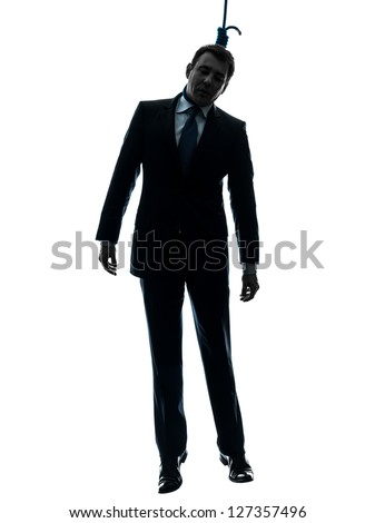 one caucasian man hangman in silhouette studio isolated on white background