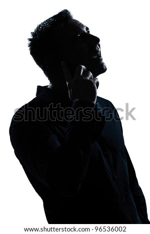 one caucasian man happy telephone portrait silhouette in studio isolated white background