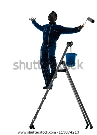 one caucasian man house painter worker silhouette in studio on white background - stock photo