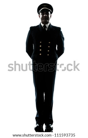 one caucasian man in airline pilot uniform  in studio isolated on white background